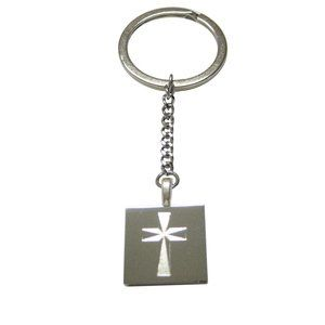 Etched Religious Cross Pendant Keychain
